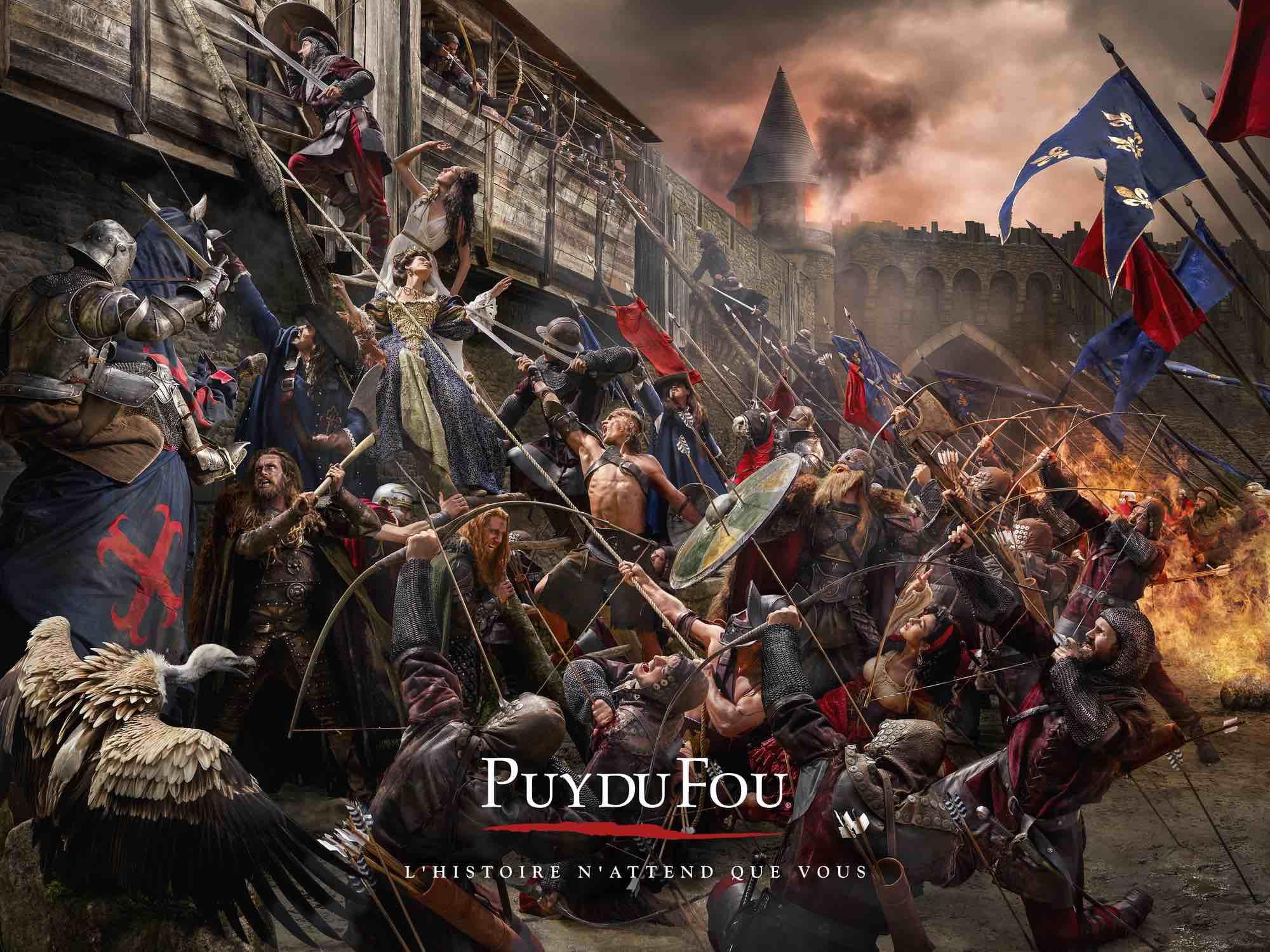 scene epique d'assaut d'une forteresse. Mélange d'époque et de genres pour cette fresque à la manière des grands tableaux.