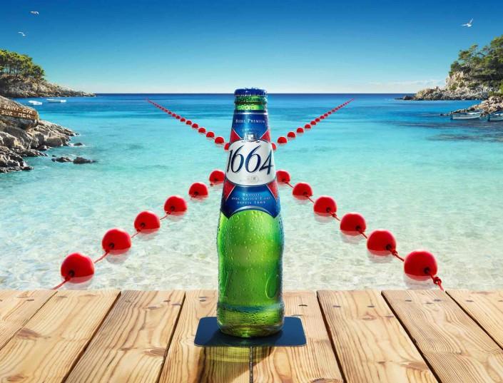 1664 bière, mer, calanque, barque, ponton, soleil, chaleur