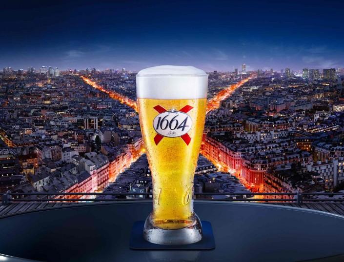 1664, Paris, Panorama, nuit, biére, Toit terrasse