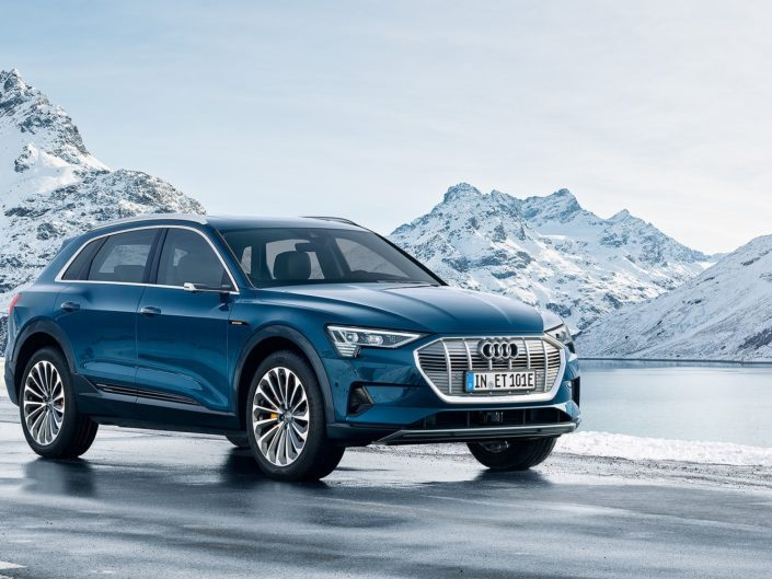 The nice Audi e-tron, electric car in the mountains of Austria