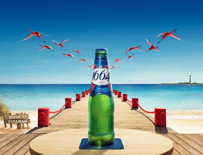 1664 bière, ponton, mer, phare, flamands roses, plage